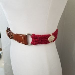 Vintage red, white, brown leather, woven belt